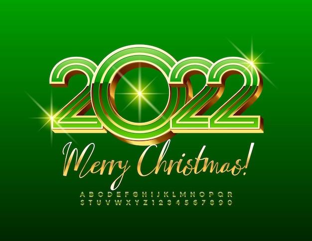 Wektor świąteczna kartka z życzeniami wesołych świąt 2022 3d zestaw liter alfabetu złota i cyfr