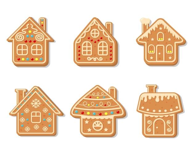 Wektor świąteczne domy z piernika. słodkie domowe ciasteczka glazurowane.