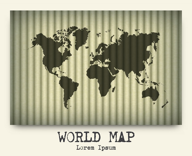Wektor światowa mapa na kartonie