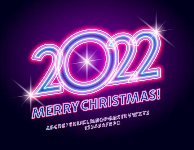 Wektor świecąca kartka z życzeniami wesołych świąt 2022 podświetlona czcionka led obrócony alfabet neonowy