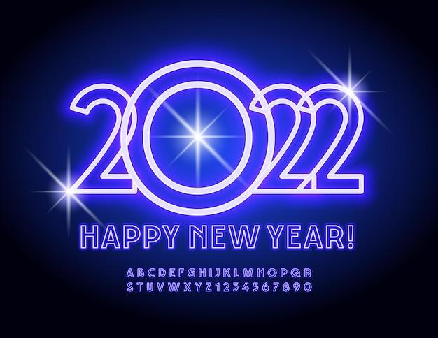 Wektor świecące kartkę z życzeniami szczęśliwego nowego roku 2022 jasny neon litery alfabetu i cyfry