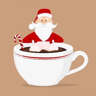 Wektor święty mikołaj i filiżankę kawy z trzciny cukrowej marshmallow i słodycze na białym tle