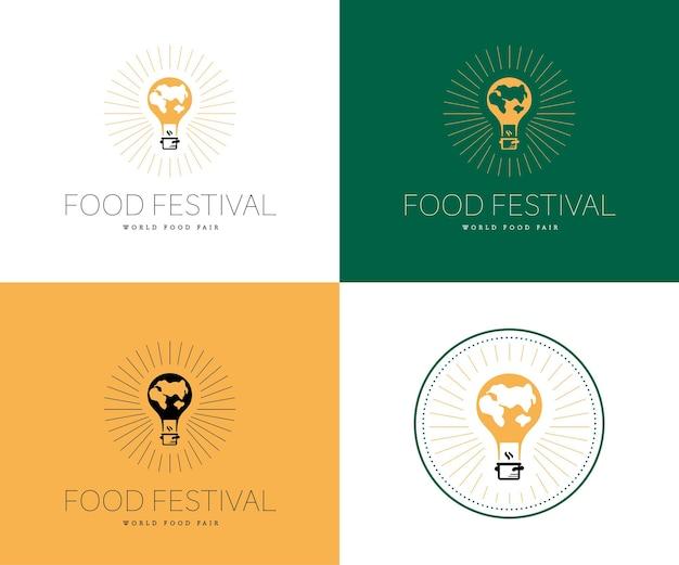 Wektor szablon logo festiwalu żywności w różnych wariantach kolorystycznych na białym tle. restauracja, kawiarnia, catering, projekt godła usług gastronomicznych. ilustracja latający balon z mapą ziemi, garnek.