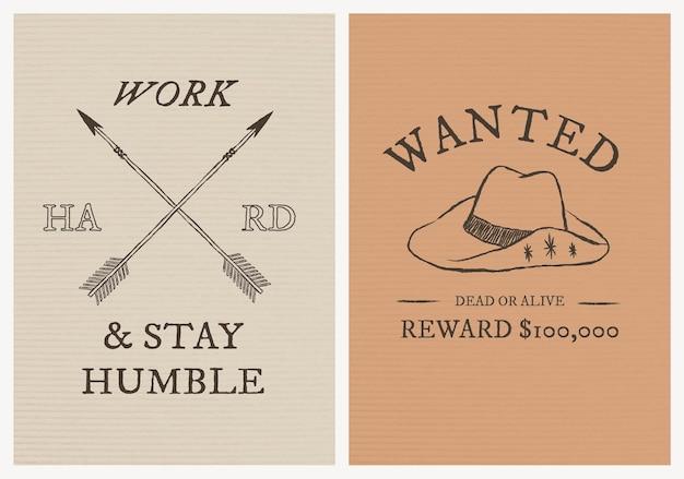 Wektor szablon plakatu o tematyce kowboja z edytowalnym zestawem tekstów