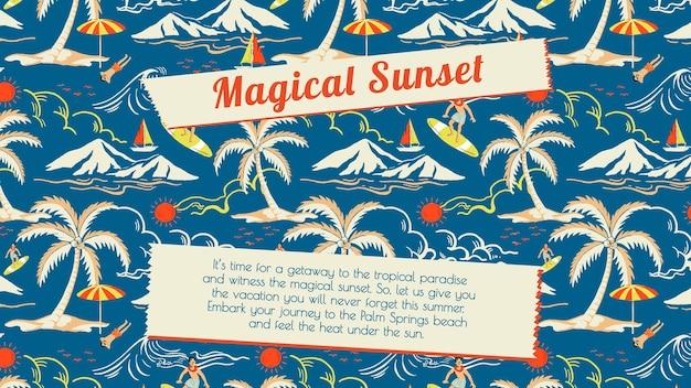 Wektor szablon podróży tropikalne słońce dla agencji marketingowych prezentacji biznesowych