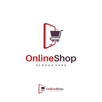 Wektor szablon projektu logo sklepu internetowego, logo simple shopping