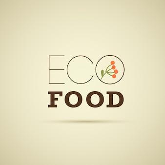 Wektor szablon projektu logo żywności ekologicznej z kwiatowy brunch na białym tle na jasnym tle. dobry na godło rynku spożywczego, etykietę produktów ekologicznych, odznakę zdrowej żywności, opakowanie, kawiarnię, insygnia restauracji itp.