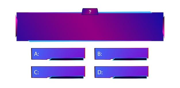 Wektor szablon pytania i odpowiedzi w stylu neonowym dla quizu gry egzamin tv show test egzaminacyjny szkoły