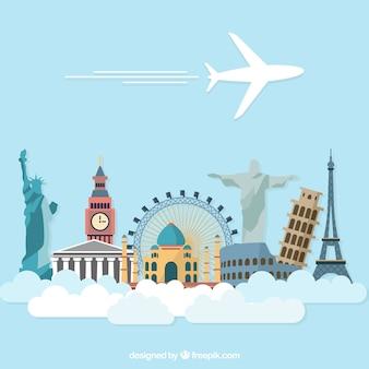 Wektor szablon wakacje samolotem