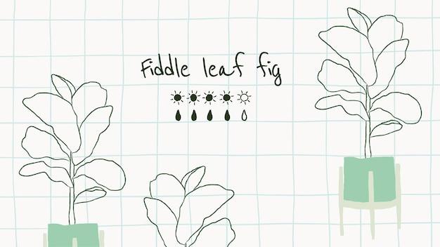 Wektor szablon wykresu podlewania na skrzypce liść figi