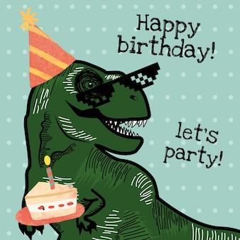 Wektor szablon zaproszenia urodzinowego dla dzieci z dinozaurem trzymającym ilustrację ciasta
