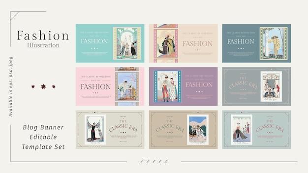 Wektor szablonów mody dla edytowalnego bloga, remiks dzieł sztuki autorstwa george'a barbier