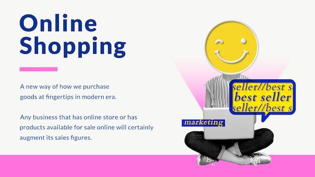 Wektor szablonu biznesu zakupów online z kreatywnymi marketingowcami zremiksowanymi mediami