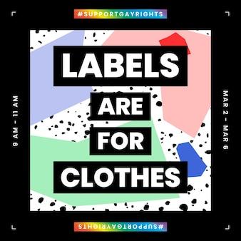 Wektor szablonu lgbtq z etykietami jest przeznaczony do cytatów z ubrań do postu w mediach społecznościowych
