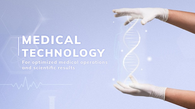 Wektor szablonu nauki technologii medycznej z prezentacją helisy dna