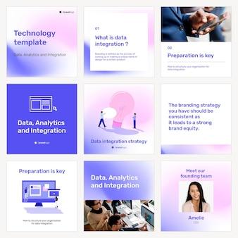 Wektor szablonu reklamy na instagramie dla zestawu technologii