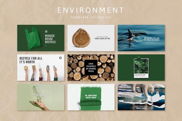 Wektor szablonu świadomości środowiskowej dla zestawu postów w mediach społecznościowych