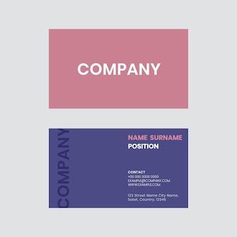 Wektor szablonu wizytówki w różowym i fioletowym odcieniu flatlay