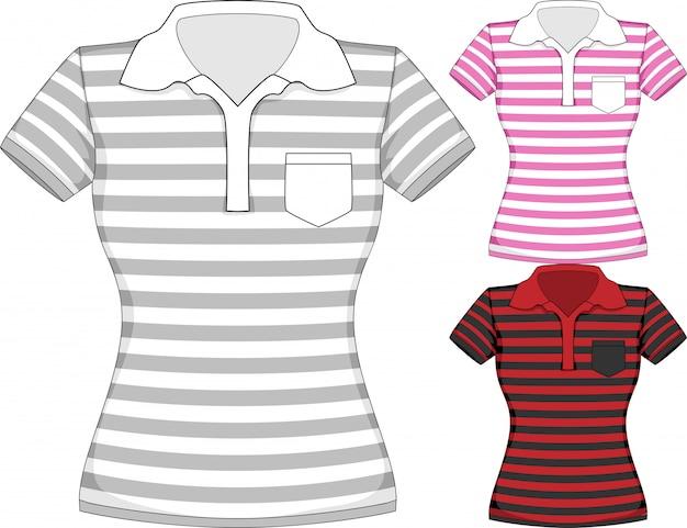 Wektor szablony projektów koszulek damskich z krótkim rękawem w trzech kolorach z paskami