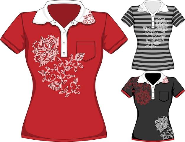 Wektor szablony projektów koszulek z krótkim rękawem kobiet w trzech kolorach