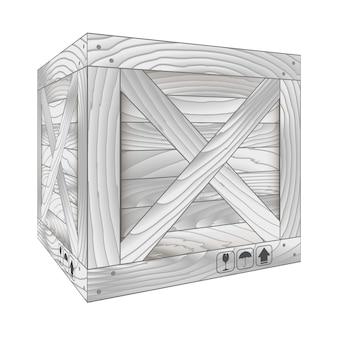 Wektor szary drewniany pudełko na bielu