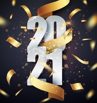Wektor szczęśliwego nowego roku 2021 ze złotą wstążką prezent