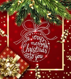 Wektor szczęśliwego nowego roku tło ze złotą serpentynąprezent świąteczny z ręcznie rysowaną bombką