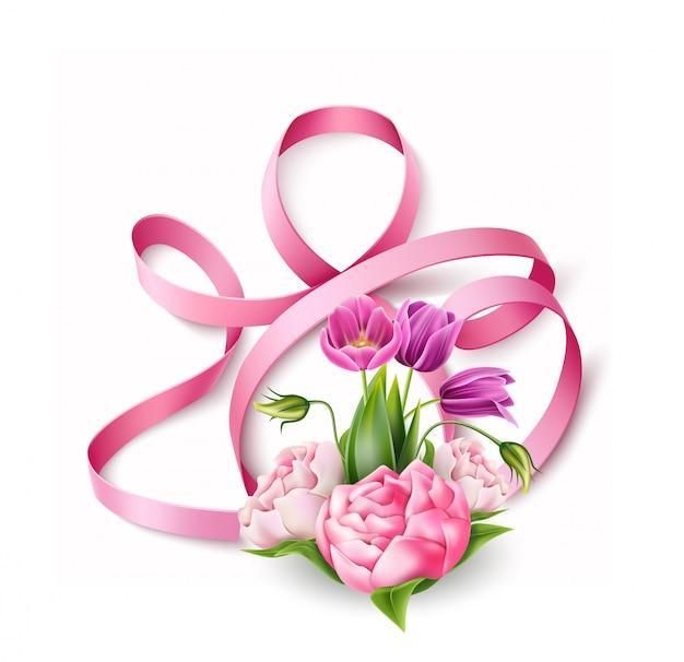 Wektor szczęśliwy dzień kobiet 8 marca kwiaty wstążki