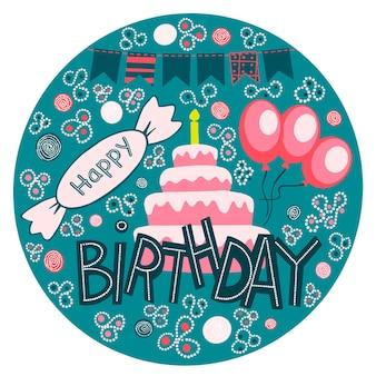 Wektor szczęśliwy urodziny ręcznie rysowane napis w ramcegratulacje i życzenia w balonachsłodycze