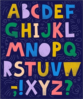 Wektor szkicowy, kolaż czcionki, abc. kolorowe teksturowane litery i znaki, ręcznie rysowane