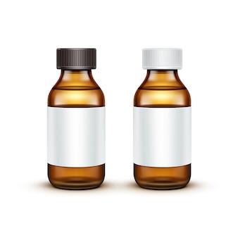 Wektor szklana butelka medyczna z płynnym płynem