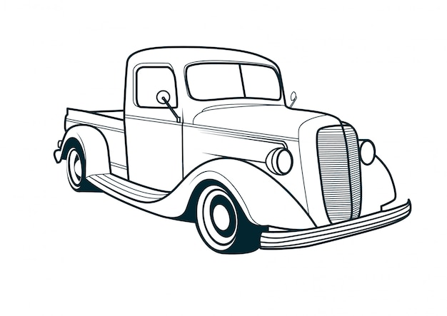 Wektor sztuki linii klasyczny samochód ciężarowy