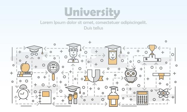 Wektor sztuki uniwersyteckiej cienka linia ilustracji