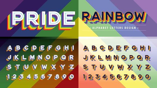 Wektor tęczowej flagi kolory litery alfabetu i cyfry retro czcionki duma tęczowa litera cień