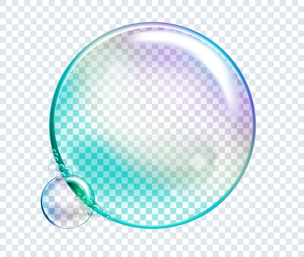 Wektor tęczy bąbelki wody. przezroczyste elementy realistyczne na białym tle.