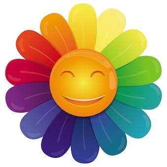Wektor tęczy kwiat z wielobarwnymi płatkami i śmieszną twarzą