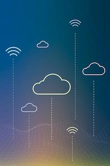Wektor tła systemu sieci w chmurze dla banera w mediach społecznościowych