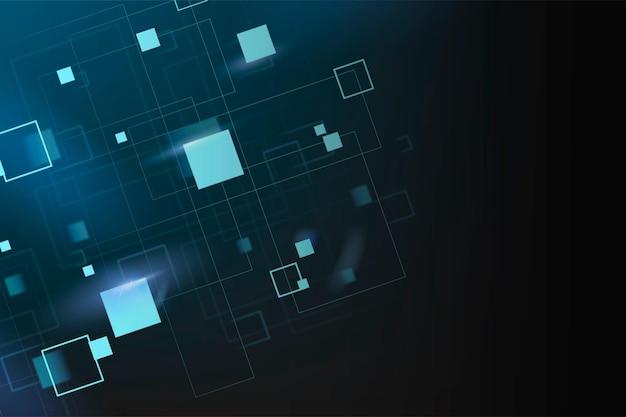 Wektor tła technologii cyfrowej z niebieskimi neonowymi geometrycznymi kształtami
