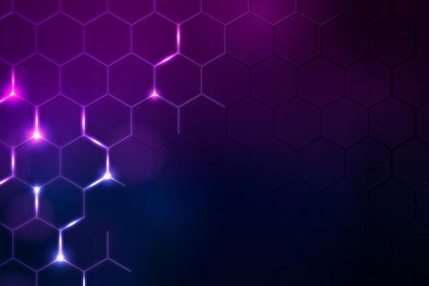Wektor tła technologii cyfrowej z sześciokątną obwódką w odcieniu ciemnofioletowym