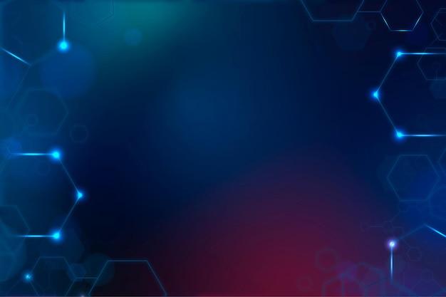 Wektor tła technologii cyfrowej z sześciokątną ramką w odcieniu niebieskim