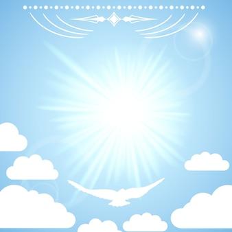 Wektor tła z słońca w błękitne niebo