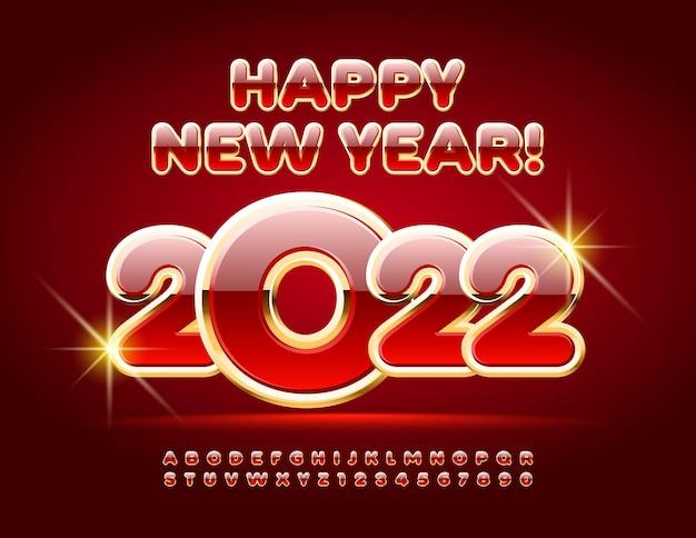 Wektor tradycyjne kartki z życzeniami szczęśliwego nowego roku 2022 czerwony i złoty alfabet litery i cyfry zestaw