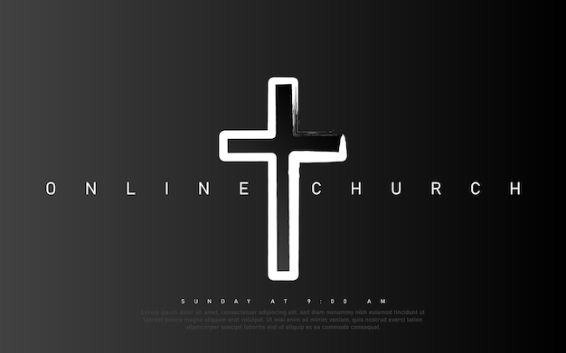 Wektor transparent kościoła online. czcij jezusa. wydarzenie na żywo w kościele. czarne tło.
