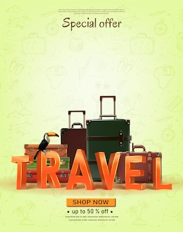 Wektor transparent podróży z ręcznie rysowanymi elementami letni czas podróży do koncepcji podróży