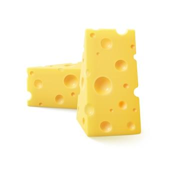 Wektor trójkątne kawałki sera szwajcarskiego na białym tle