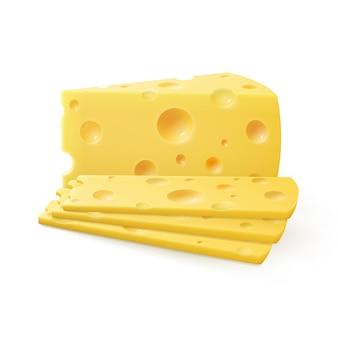 Wektor trójkątne pokrojone kawałki sera szwajcarskiego na białym tle