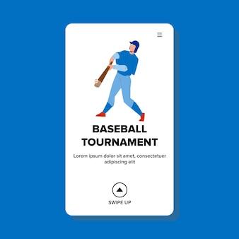 Wektor turnieju baseballu sportowa konkurencja. turniej baseballowy konkurencyjny sport na stadionie, mężczyzna grający w grę z drużyną. postać wygrywająca mistrzostwa w sieci web płaskie ilustracja kreskówka