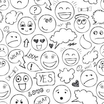 Wektor twarze wzór. emocje, doodle, odręczny rysunek tła. czarny i biały