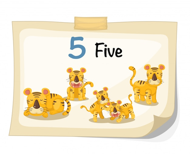 Wektor tygrys numer pięć