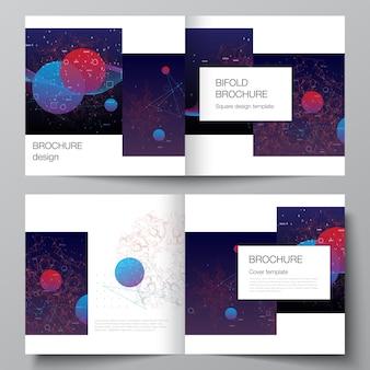 Wektor układ dwóch szablonów okładek na kwadratową broszurę bifold, ulotkę, magazyn, projekt okładki, projekt książki. sztuczna inteligencja, wizualizacja big data. koncepcja technologii komputera kwantowego.